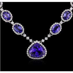 14KT White Gold 18.07ctw Tanzanite and Diamond Necklace
