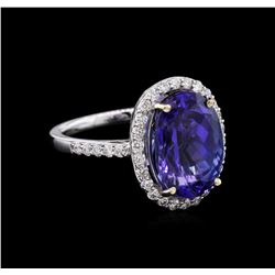 GIA Cert 7.76ct Tanzanite and Diamond Ring - 18KT White Gold
