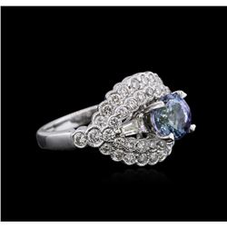 18KT White Gold 1.37ct Tanzanite and Diamond Ring