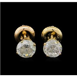 1.56ctw Diamond Solitaire Earrings - 14KT Yellow Gold