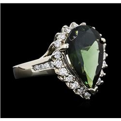 14KT White Gold 4.23ct Green Tourmaline and Diamond Ring