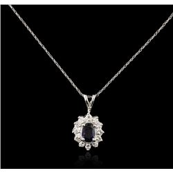 14KT White Gold 0.74ct Sapphire and Diamond Pendant With Chain