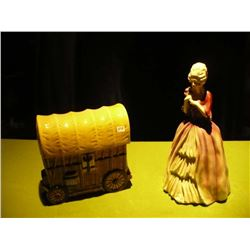 Wagon Cookie Jar / Victorian Chaulkware Lady