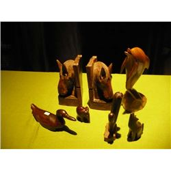 Book Ends Wood People Sculptures