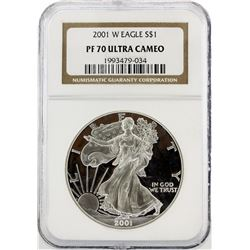2001-W NGC Graded PF70 Ultra Cameo $1 American Silver Eagle Silver Coin