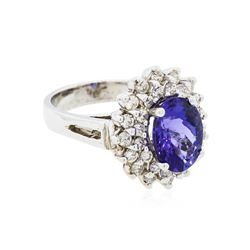 14KT White Gold 3.50ct Tanzanite and Diamond Ring