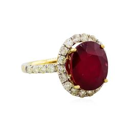 14KT Yellow Gold 10.60ct Ruby and Diamond Ring