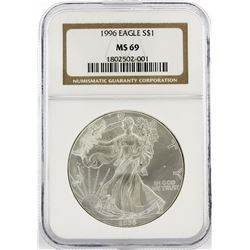 1996 $1 American Silver Eagle Silver Coin NGC Graded MS69