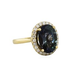 14KT Yellow Gold 6.88ct Tanzanite and Diamond Ring
