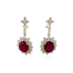 14KT Yellow Gold 20.80ctw Ruby and Diamond Dangle Earrings