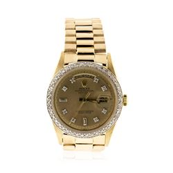 Men's 18KT Yellow Gold Rolex DayDate Watch Diamond Bezel