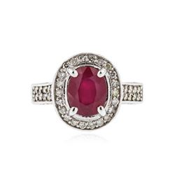 14KT White Gold 2.95ct Ruby and Diamond Ring
