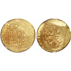 Mexico City, Mexico, cob 8 escudos, 1713J, encapsulated NGC MS 62, with WINGS gold sticker, from the