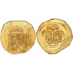 """Mexico City, Mexico, cob 8 escudos, (1714J), """"GRAT variety"""" dies (date on reverse), from the 1715 Fl"""