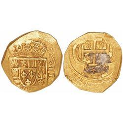 Mexico City, Mexico, cob 2 escudos, (1715)(J), from the 1715 Fleet.