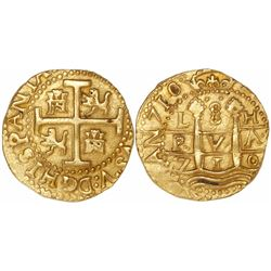 Lima, Peru, cob 8 escudos, 1710H, encapsulated NGC MS 61, from the 1715 Fleet (as stated inside the