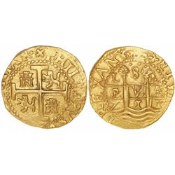 Lima, Peru, cob 8 escudos, 1711M, encapsulated NGC MS 61, from the 1715 Fleet (as stated inside the