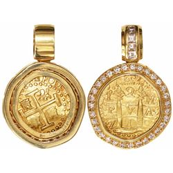 Lima, Peru, cob 2 escudos, 1710H, from the 1715 Fleet, mounted in 18K gold pendant-bezel with 35 dia