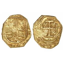 Bogota, Colombia, cob 2 escudos, Philip IV, assayer not visible (A to left), very rare variety with