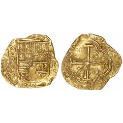 Bogota, Colombia, cob 2 escudos, Philip IV, assayer R to right (early 1650s), mintmark NR to left, f
