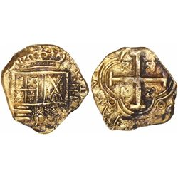 "Bogota, Colombia, cob 2 escudos, Philip IV, assayer R to right (1650s), from the ""Jupiter wreck"" (Sa"