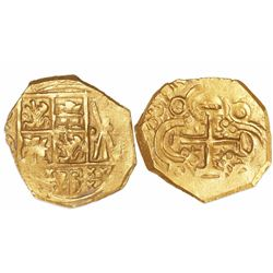 Bogota, Colombia, cob 2 escudos, 1713, no assayer (Arce), from the 1715 Fleet.