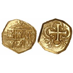 Bogota, Colombia, cob 1 escudo, posthumous Charles II, no assayer (Arce), from the 1715 Fleet.