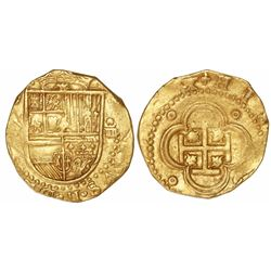 Seville, Spain, cob 4 escudos, Philip II, assayer not visible.