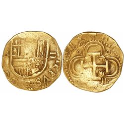 Seville, Spain, cob 2 escudos, Philip II, assayer B below mintmark S to left.