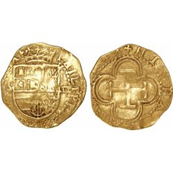 Seville, Spain, cob 1 escudo, Philip II, assayer Gothic D to right, mintmark S to right.
