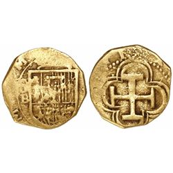 Seville, Spain, cob 1 escudo, Philip II or III, assayer B below mintmark S to left, (OMNIV)M in lege