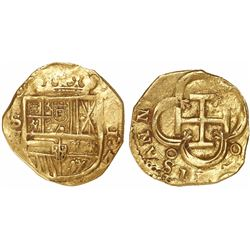 Seville, Spain, cob 2 escudos, Philip III, assayer V.