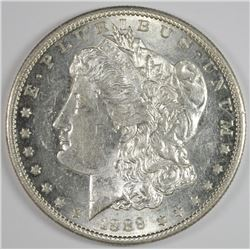1889-S MORGAN SILVER DOLLAR, CHOICE BU WHITE!