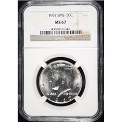 1967 SMS KENNEDY HALF DOLLAR, NGC MS-67