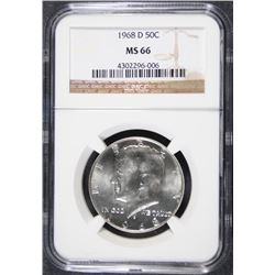 1968-D KENNEDY HALF DOLLAR, NGC MS-66