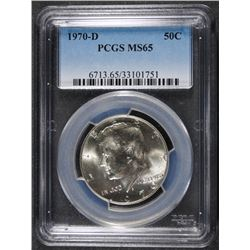 1970-D KENNEDY HALF DOLLAR, PCGS MS-65  BETTER DATE