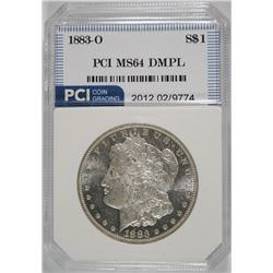 1883-O MORGAN SILVER DOLLAR, PCI GEM BU DMPL
