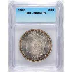 1890 MORGAN DOLLAR ICG MS-63 PL