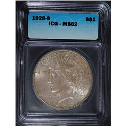 1928-S PEACE DOLLAR ICG MS-62