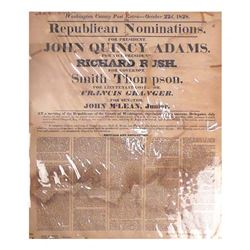 John Quincy Adams  - Campaign Broadside