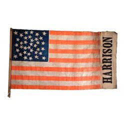 William H. Harrision - Silk and Linen Campaign Flag