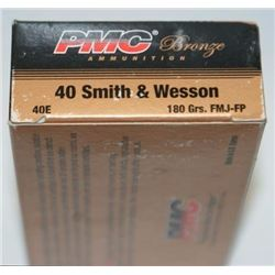 10 BOXES PMC 40E Bronze 40 Smith & Wesson Full Metal Jacket Flat Point (500 ROUNDS).741569070454
