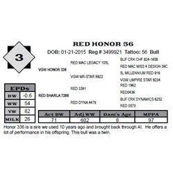 Lot 3 - RED HONOR 56
