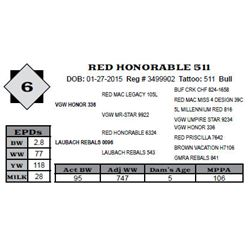 Lot 6 - RED HONORABLE 511