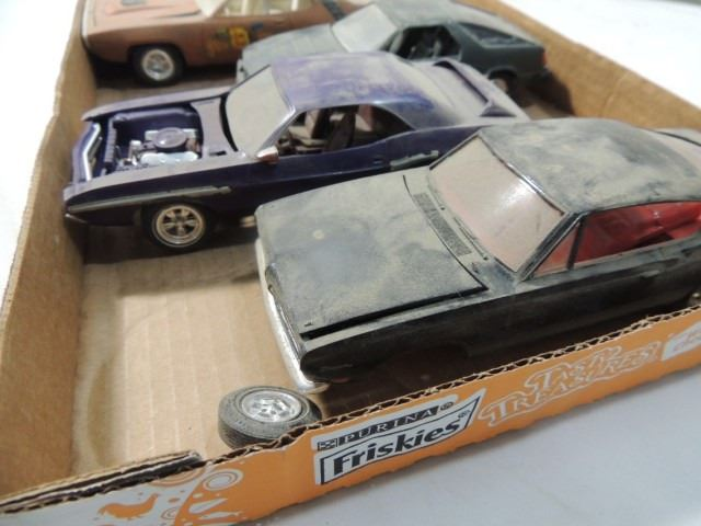 Box Lot 4 Vintage Plastic Model Cars Completed
