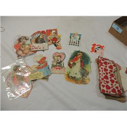 BOX LOT VINTAGE OLD ANTIQUE VALENTINES DAY CARDS