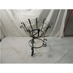 ANTIQUE VINTAGE BLACK WROUGHT IRON PLANT STAND