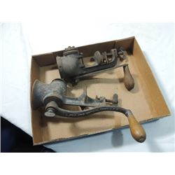 TWO ANTIQUE FOOD NUT MEAT GRINDERS