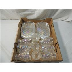 CARNIVAL GLASS SNACK SET LOT PLATES CUPS GLASSES