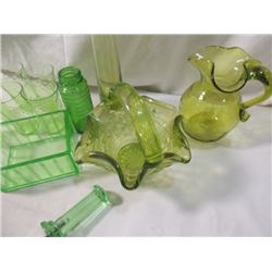 BOX LOT GREEN VASELINE GLASS VINTAGE LOT PITCHER